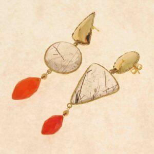 "Orecchini quarzi e oro ""GEOMETRIE"" – orecchini asimmetrici"