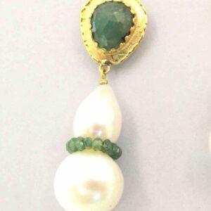 """Orecchini oro e smeraldi """"RINASCIMENTO"""" Perle acqua dolce, smeraldi, oro giallo"""