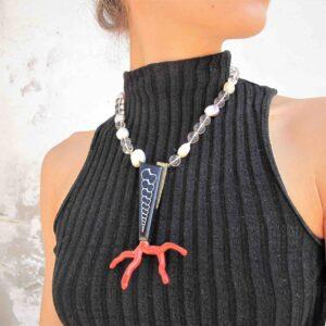 """Girocollo perle e corallo """"MAREE""""  1"""