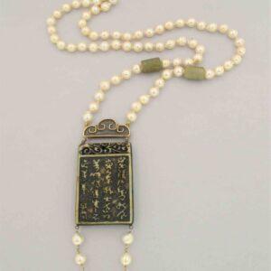 Collana lunga in perle akoya ''CITTA' PROIBITA''