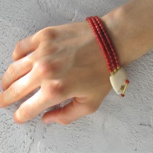 Bracciale corallo rosso 3 fili barilotto