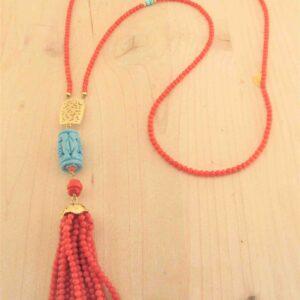 """Lunga collana oro corallo e turchese  """"NAPPINA''"""
