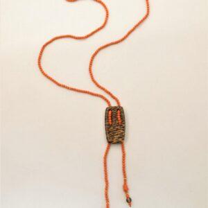 """Collana corallo lunga """"CORAL TIE"""" -collana corallo- legno di palma- corallo rosso mediterraneo- collana lunga"""
