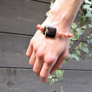 Bracciale CORALLO ROSA ORO ed ebano – gioiello italiano- Fatto a mano- bracciale per lei