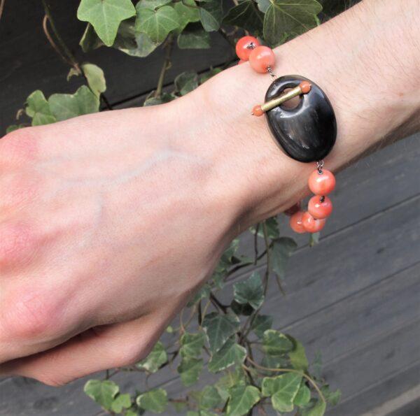 bracciale corallo rosa e corno